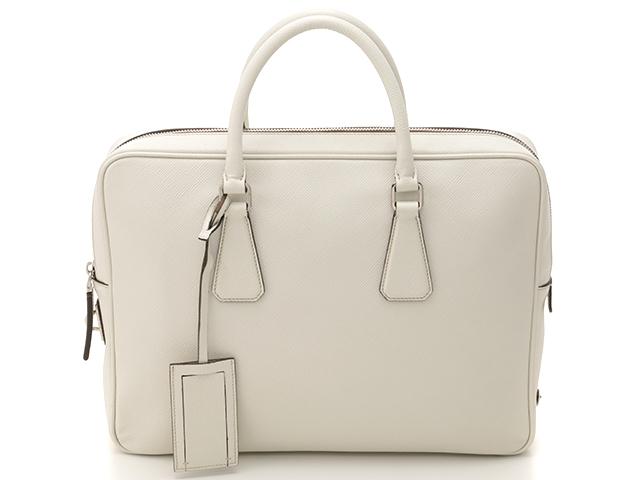 PRADA プラダ バッグ ブリーフケース ビジネスバッグ VS0363  ホワイト  サフィアーノ 【205】【中古】【大黒屋】
