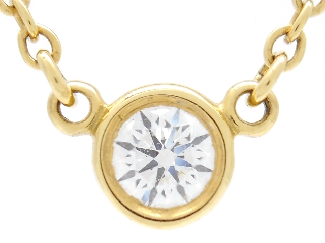 【送料無料】TIFFANY&CO ティファニー バイザヤードネックレス イエローゴールド ダイヤモンド 1.8g【450】【中古】【大黒屋】