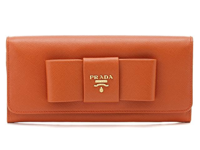 PRADA プラダ 長財布 1M1132 サフィアーノ オレンジ 【474】【中古】【大黒屋】