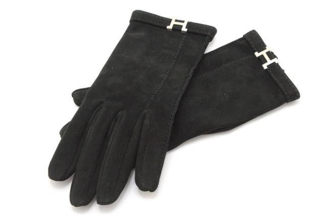 HERMES エルメス 手袋 グローブ 016482G-01-070 羊革 ブラック 7号【200】【中古】【大黒屋】