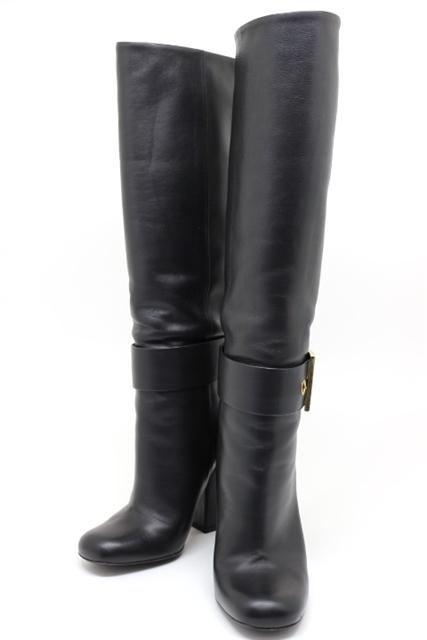 GUCCI グッチ ロングブーツ ブーツ レディース 36 約23cm ブラック レザー ベルト【200】【中古】【大黒屋】