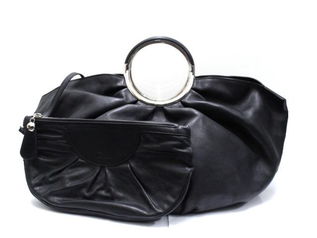 Dior ディオール ハンドバッグ カーフ ブラック シルバー金具 ポーチ付  【474】【中古】【大黒屋】