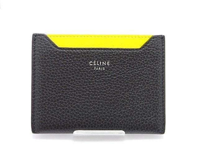 CELINE セリーヌ カードケース 型押し ブラック イエロー 【474】【中古】【大黒屋】