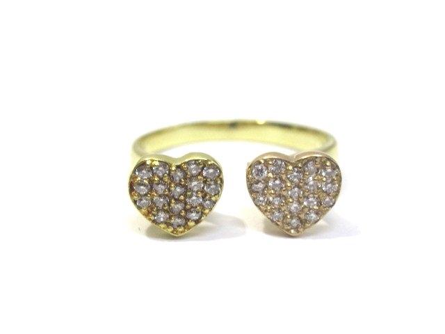 JEWELRY ジュエリー K18 YG/PG ダイヤモンド リング 指輪 ハート 10号 3.7g【432】【中古】【大黒屋】