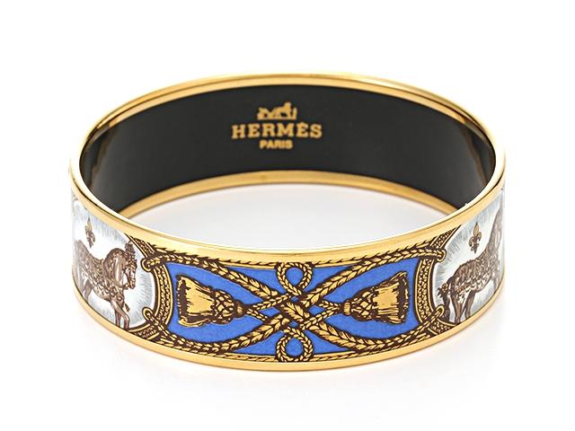 HERMES エルメス アクセサリー バングル エマイユGM GP ホース ゴールド ブルー 【430】【中古】【大黒屋】