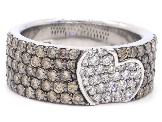 【送料無料】Ponte Vecchio ポンテヴェキオ 貴金属・宝石 リング 指輪 ホワイトゴールド K18WG ダイヤ D 0.23ct ブラウンダイヤ 1.11ct 12号 ハート 【200】【中古】【大黒屋】