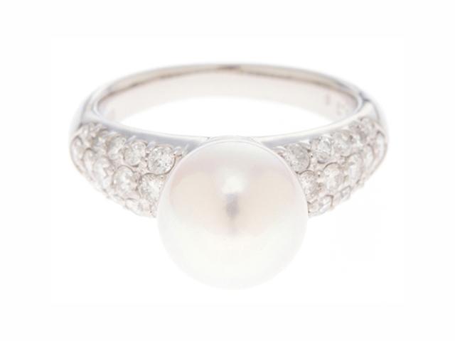 【送料無料】JEWELRY ノンブランド リング PT900 ダイヤモンド パール 真珠 11.5号 【436】【中古】【大黒屋】
