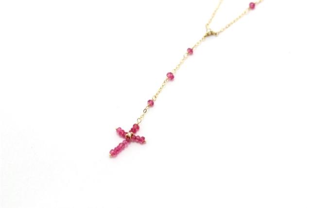 AHKAH アーカー ネックレス K18 イエローゴールド 色石(ピンク)  1.6g【473】【中古】【大黒屋】