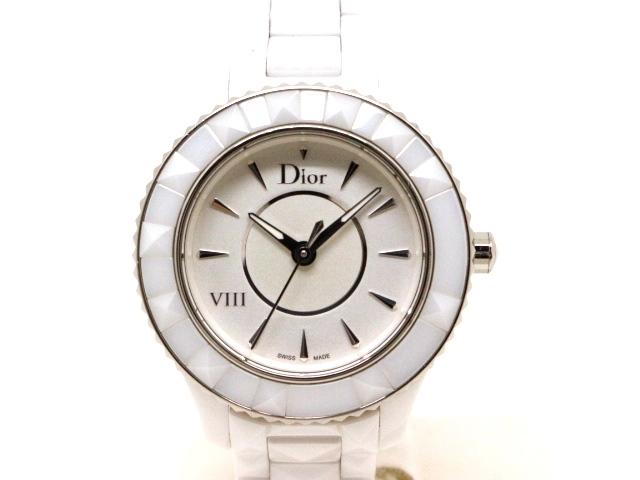 【送料無料】Dior ディオール 時計 ユイット セラミック ステンレススチール ホワイト CD123E2 クォーツ 【430】【中古】【大黒屋】