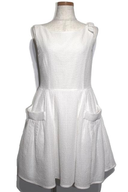 aa0782a96725c FOXEYフォクシー衣料品衣類ワンピースフレアワンピース26589レディース42ホワイト白コットンリボン
