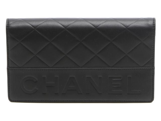 【送料無料】CHANEL シャネル 二つ折長財布 ラムスキン ブラック【471】【中古】【大黒屋】
