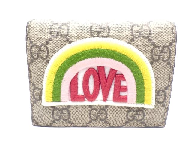 GUCCI グッチ サイフ・小物 財布 二つ折財布 レインボーソフト LOVE コーティングキャンバス ベージュ 【437】【中古】【大黒屋】