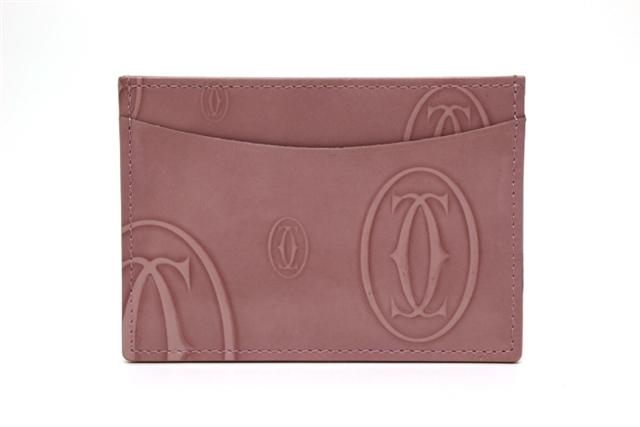 Cartier カルティエ サイフ・小物 名刺入れ カードケース パスケース エナメル ピンク 【200】【中古】【大黒屋】