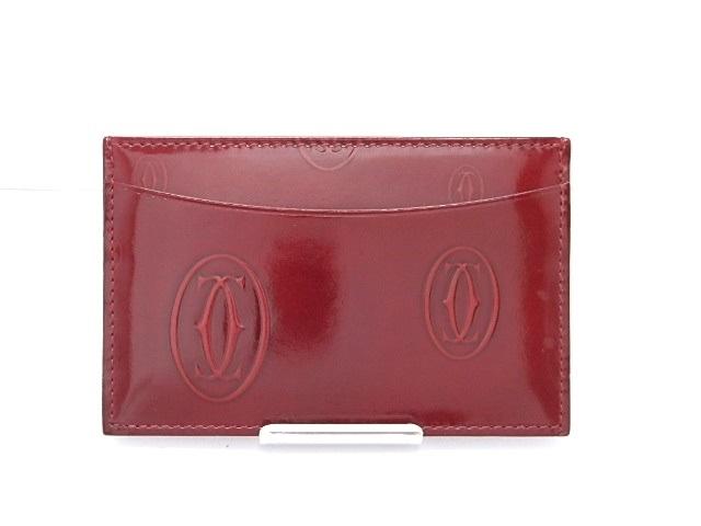Cartier カルティエ カードケース ハッピーバースデー エナメル ワインレッド 【474】【中古】【大黒屋】