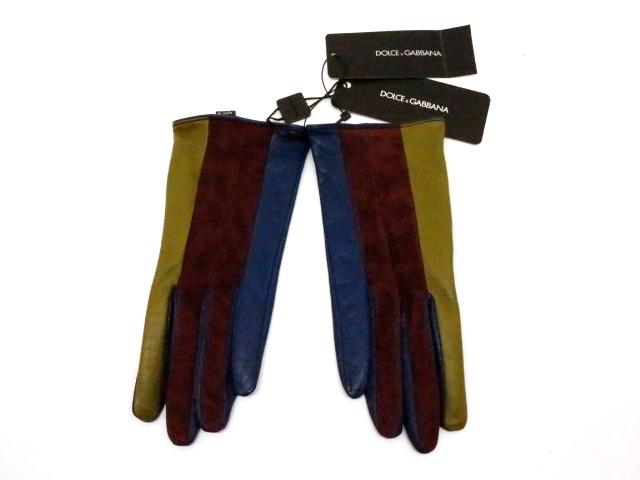 DOLCE&GABBANA ドルチェ・アンド・ガッバーナ 衣料品 手袋 グローブ ネイビー ボルドー グリーン 羊革 サイズ6 1/2 【200】【中古】【大黒屋】
