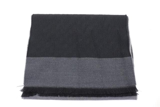 GUCCI グッチ 衣料品 マフラー ウール ブラック グレー GG GGマーク【200】【中古】【大黒屋】
