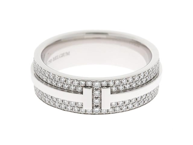【送料無料】TIFFANY&CO ティファニー Tツーナローリング ダイヤモンド WG #10【430】【中古】【大黒屋】