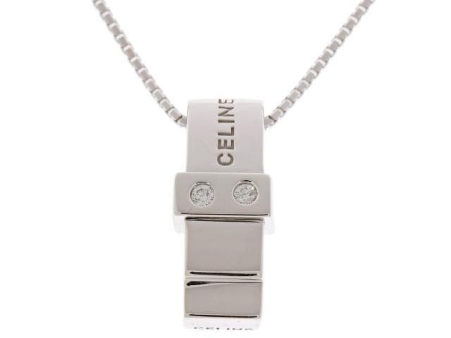 CELINE セリーヌ ダイヤモンド ネックレス K18WG D0.05 7.2g【430】【中古】【大黒屋】
