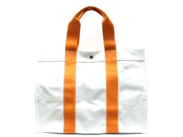 HERMES エルメス ボラボラGM トートバッグ キャンバス アイボリー オレンジ 【474】【中古】【大黒屋】