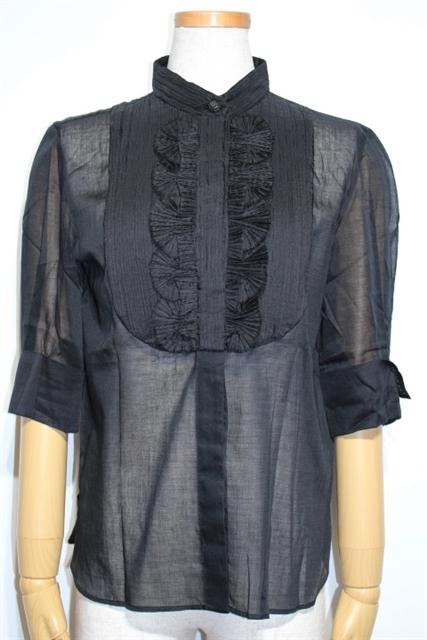 CHANEL シャネル 衣料品 衣類 シャツ ブラウス P42691W05065 レディース38 ブラック コットン【200】【中古】【大黒屋】
