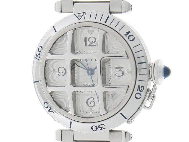 【送料無料】Cartier 時計 パシャ グリット オートマチック ステンレス W31059H3 バックスケルトン ホワイト文字盤 ドーム状グリッド【433】【中古】【大黒屋】
