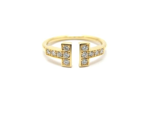 【送料無料】ティファニー リング 指輪 Tワイヤーリング イエローゴールド ダイヤモンド 7号 【411】【中古】【大黒屋】