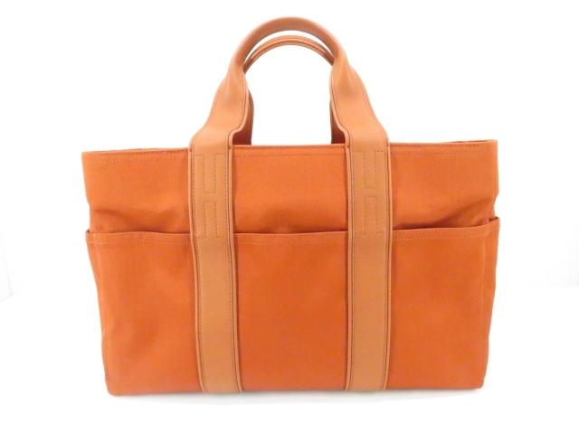 【送料無料】HERMES エルメス バッグ アカプルコMM トートバッグ オレンジ ナイロン レザー 【430】【中古】【大黒屋】