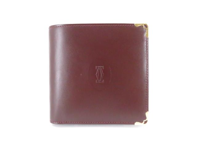 Cartier カルティエ サイフ・小物 二つ折財布 財布 二つ折財布 マスト カーフ ボルドー 【203】【中古】【大黒屋】