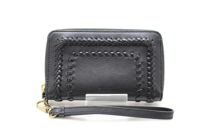 RALPH LAUREN 財布 ラウンド財布 ブラック カーフ キャンバス412大黒屋qVpzMSU
