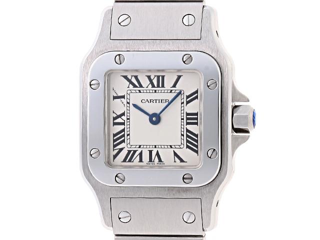 【送料無料】Cartier 時計 サントス ガルベSM クオーツ SS/59.6g W20017D6 サファイヤ石付きリューズ【433】【中古】【大黒屋】