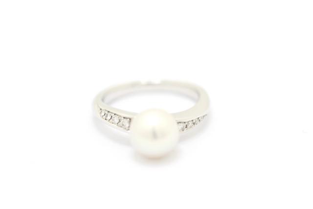 TASAKI タサキ リング 指輪 PT900 ダイヤモンド 0.09ct あこやパール 真珠 11号 【460】【中古】【大黒屋】