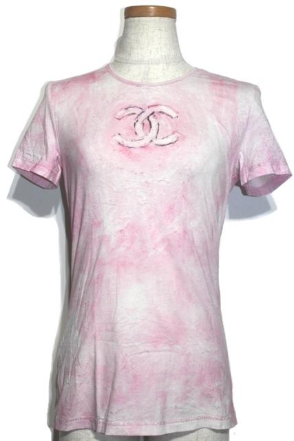 CHANEL シャネル Tシャツ 半袖 P34611K02001 レディース38 ピンク コットン ココマーク【432】【中古】【大黒屋】