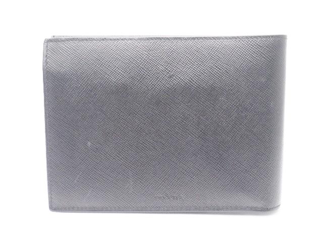 99ba7c6231f3 PRADA プラダ サイフ・小物 二つ折財布 財布 型押し ブラック 【438】【中古】【大黒屋】-メンズ財布