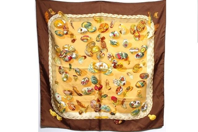 HERMES エルメス 衣料品 大判スカーフ カレ90 Couvee d'Hermes(エルメスの卵) ブラウン イエロー マルチカラー シルク 【200】【中古】【大黒屋】