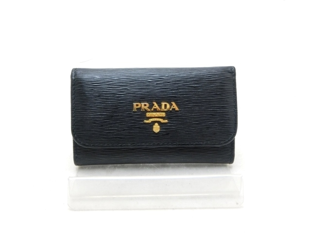 プラダ カーフ 6連キーケース 1PG222 ブラック 【411】【中古】【大黒屋】