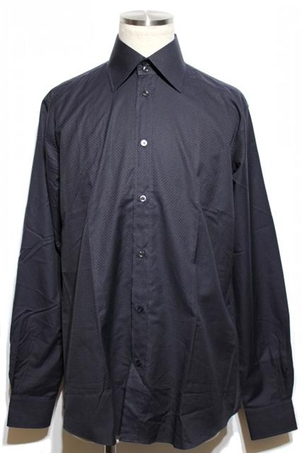 HERMES エルメス シャツ Yシャツ メンズ40 ネイビー コットン【432】【中古】【大黒屋】