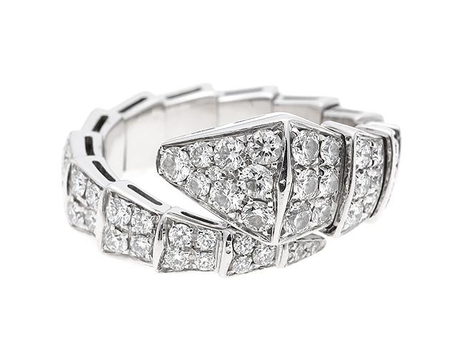 [送料無料]BVLGARI リング セルペンティフルダイヤリング ホワイトゴールド ダイヤモンド Sサイズ【204】【中古】【大黒屋】