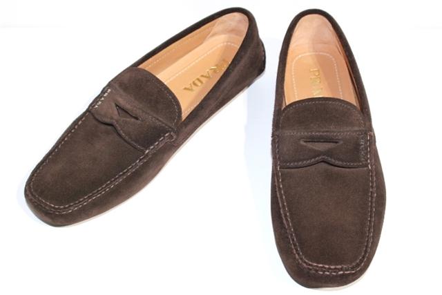 PRADA プラダ 革靴 モカシンシューズ ドライビングシューズ メンズ7ハーフ  ブラウン スエード【432】【中古】【大黒屋】