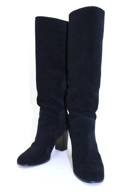 CHANEL シャネル ブーツ ロングブーツ レディース 37ハーフ ブラック スエード ココマーク 【432】【中古】【大黒屋】