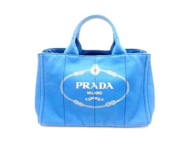PRADA プラダ バッグ ハンドバッグ カナパ キャンバス ブルー BN2642【437】【中古】【大黒屋】
