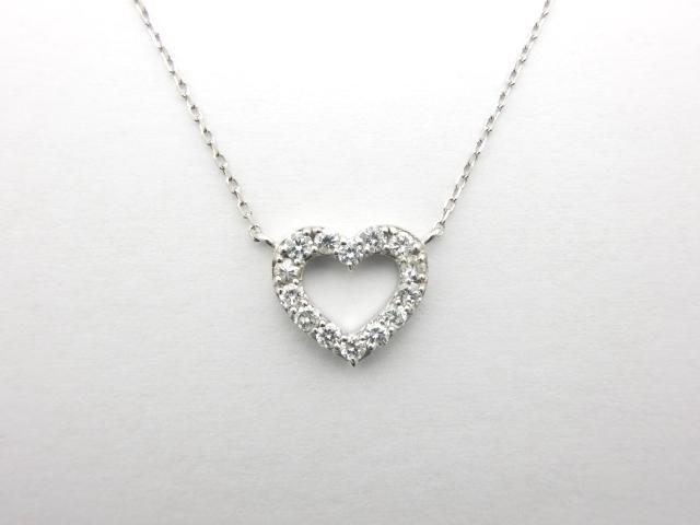 ノンブランドジュエリー ネックレス K18WG ホワイトゴールド ダイヤモンド 【411】【中古】【大黒屋】