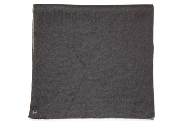 HERMES エルメス マフラー アレ・ルトゥール ブラック グレー Hロゴ【200】【中古】【大黒屋】