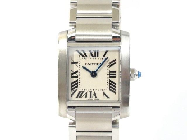 【送料無料】Cartier カルティエ 時計 ウォッチ タンクフランセーズSM W51008Q3 ホワイト 電池 クオーツ レディース ステンレス SS【413】【中古】【大黒屋】