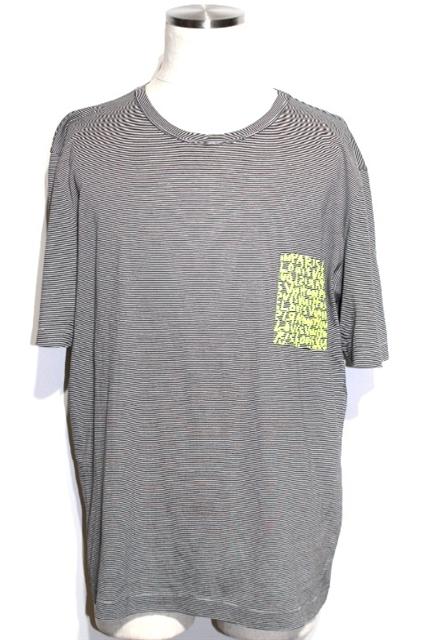LOUIS VUITTON ルイヴィトン LV Tシャツ メンズ XXL ブラック ボーダー コットン グラフィティ RW091SMOJR62JDS【200】【中古】【大黒屋】