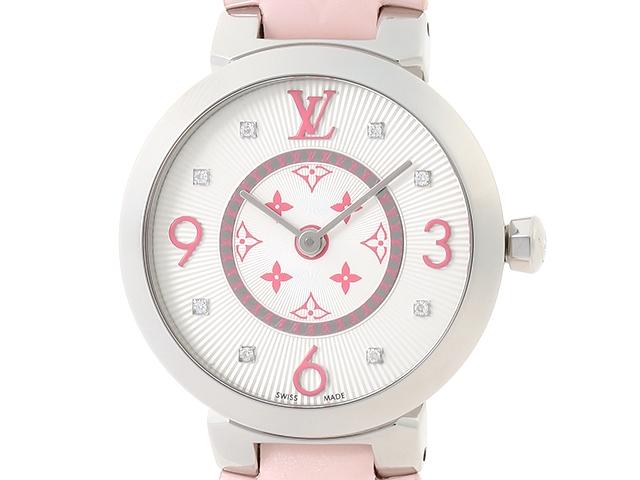 【送料無料】LOUIS VUITTON ルイヴィトン タンブールモノグラム タンブール スリムPM 女性用腕時計 SS 8Pダイヤモンド Q12MG4 QAAA34 レディース【472】【中古】【大黒屋】