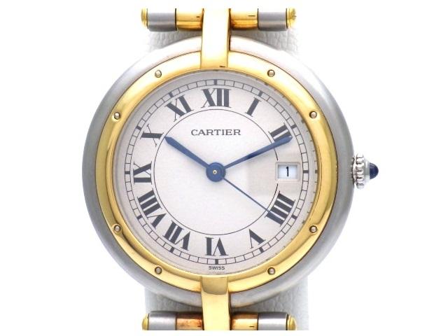 【送料無料】Cartier カルティエ パンテール・ラウンド 2ロウ クオーツ ステンレス イエローゴールド レディース【472】【中古】【大黒屋】