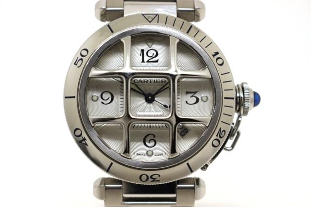 【送料無料】Cartier  カルティエ パシャグリッド W31059H3 SS コンベックスグリッド シルバー オートマチック メンズ【438】【中古】【大黒屋】