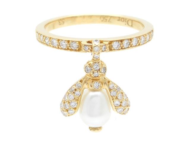 [送料無料]Christian Dior クリスチャン・ディオール リング 指輪 蜂モチーフ BEE K18イエローゴールド パール ダイヤモンド 53号 【437】【中古】【大黒屋】