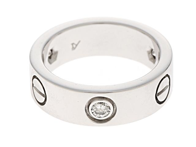 【送料無料】Cartier カルティエ 貴金属・宝石 ラブリング ダイヤリング ラブRハーフ 3Pダイヤモンド WG ホワイトゴールド 8.3g 48号 日本サイズ8号 B4032500 【200】【中古】【大黒屋】