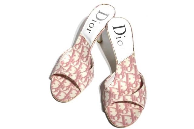 Dior ディオール シューズ サンダル レディース 37ハーフ ピンク ファブリック 【472】【中古】【大黒屋】